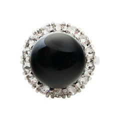 Onyx and Antique Rose Cut Diamond Cocktail Ring, Classic Design