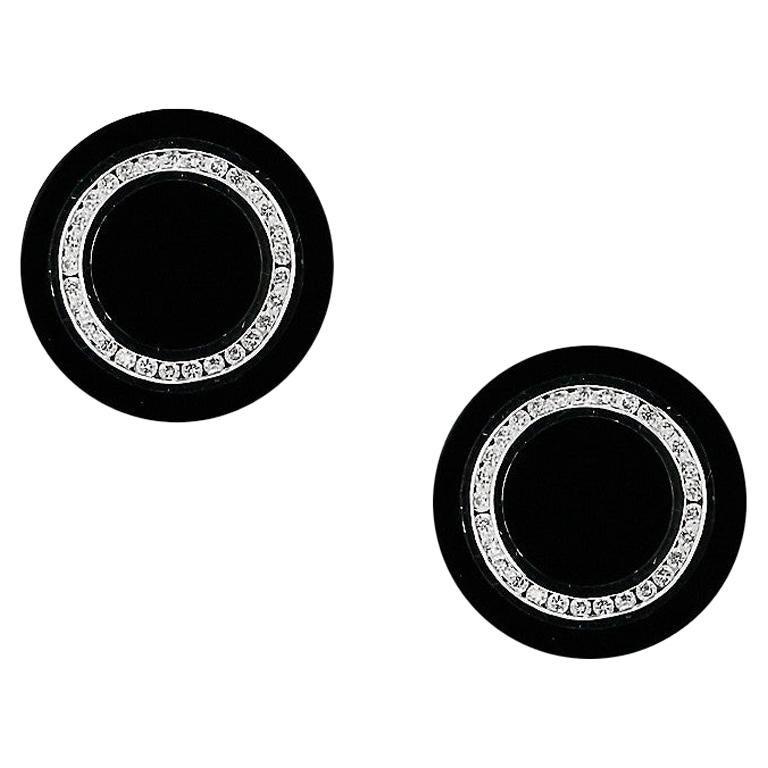 Onyx 18 Karat White Gold Fine Jewelry White Gold Statement Cufflinks For Sale