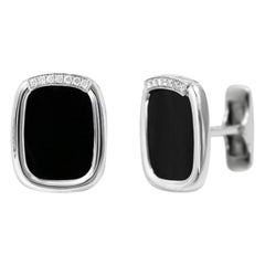 Onyx 18 Karat White Gold Fine Jewelry White Gold Statement Cufflinks