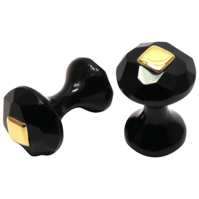 Onyx 18 Karat Yellow Gold Cufflinks Handcraft in Italy by Botta Gioielli For Sale