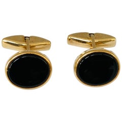 Onyx and 9 Carat Gold Vintage Cufflinks, Made in England