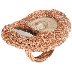 Onyx and Ammonite Woven Drop Shaped Gold Statement Cocktail Ring, Sheila Westera