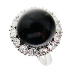 Onyx and Antique Rose Cut Diamond Cocktail Ring
