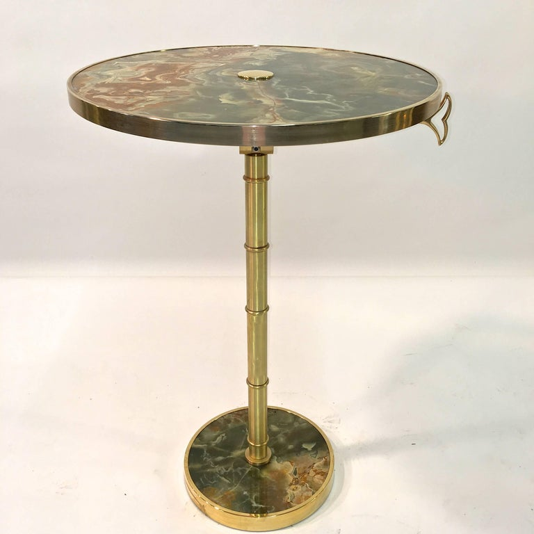Onyx and Brass Bamboo Tilt-Top Table For Sale 7