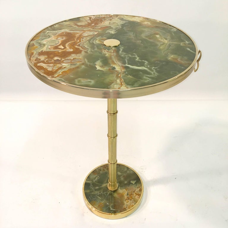 Onyx and Brass Bamboo Tilt-Top Table For Sale 8