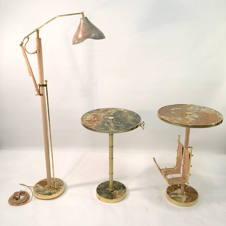 Onyx and Brass Bamboo Tilt-Top Table For Sale 13