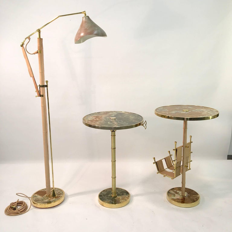 Onyx and Brass Bamboo Tilt-Top Table For Sale 14
