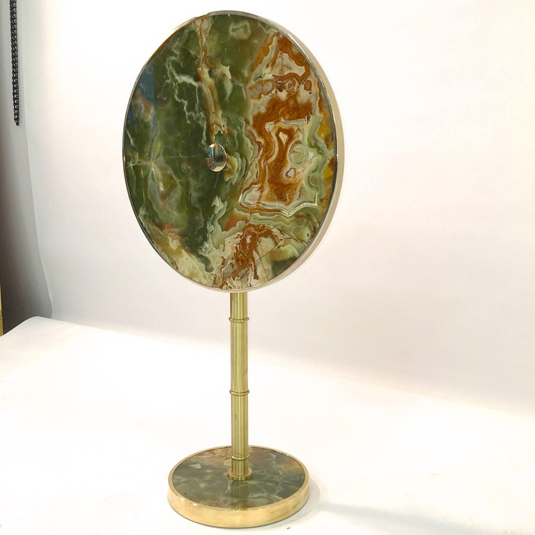 Mid-Century Modern Onyx and Brass Bamboo Tilt-Top Table For Sale