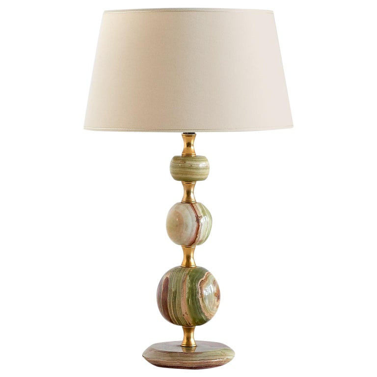 Onyx and Brass Table Lamp with Ivory Shade, Italy, 1970s For Sale