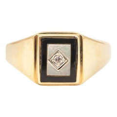 Onyx and Diamond and Mother of Pearl 9 Carat Yellow Gold Men's Signet Ring
