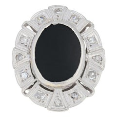 Onyx and Diamond Art Deco Ring, Platinum Vintage Milgrain Halo .36 Carat