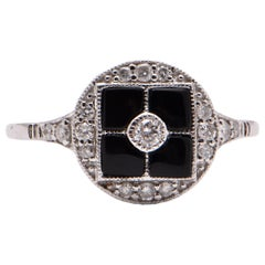 Onyx and Diamond Art Deco Style Ring in 18 Carat White Gold