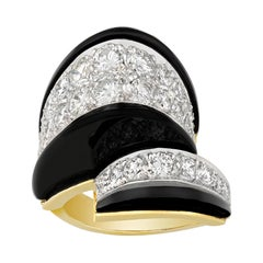 Onyx and Diamond Crossover Ring