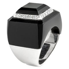 Onyx and Diamond on White Gold Ring