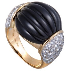 Onyx and Diamond Pave Yellow Gold Bombe Ring
