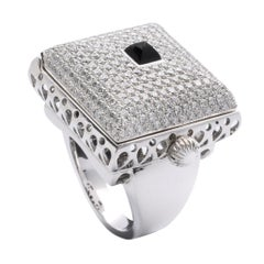 Onyx and Diamond Ring, 18 Karat White Gold
