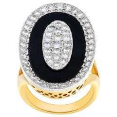 Onyx and Diamond Ring in 18 Karat with 1.60 Carat in G-H, VS-SI Diamonds