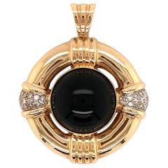 Onyx and Diamond Yellow Gold Pendant
