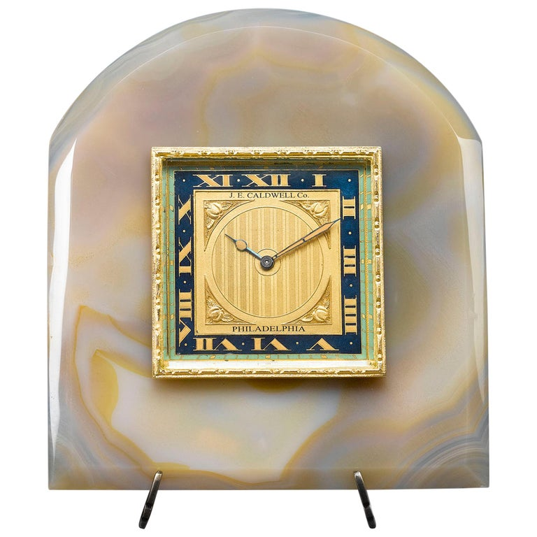 Onyx and Enamel Desk Clock by J.E. Caldwell For Sale
