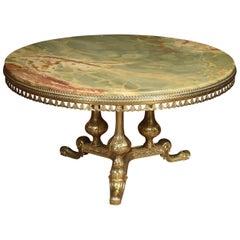 Onyx and Gilt Metal Circular Coffee Table
