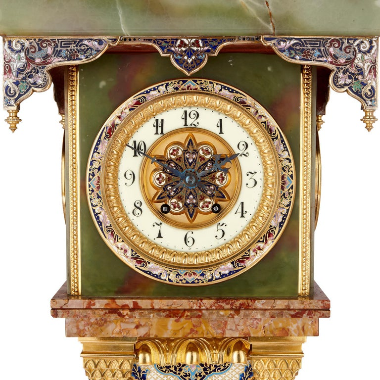 Neoclassical Onyx and Marble Longcase Clock with Enamel and Gilt Bronze Mounts For Sale