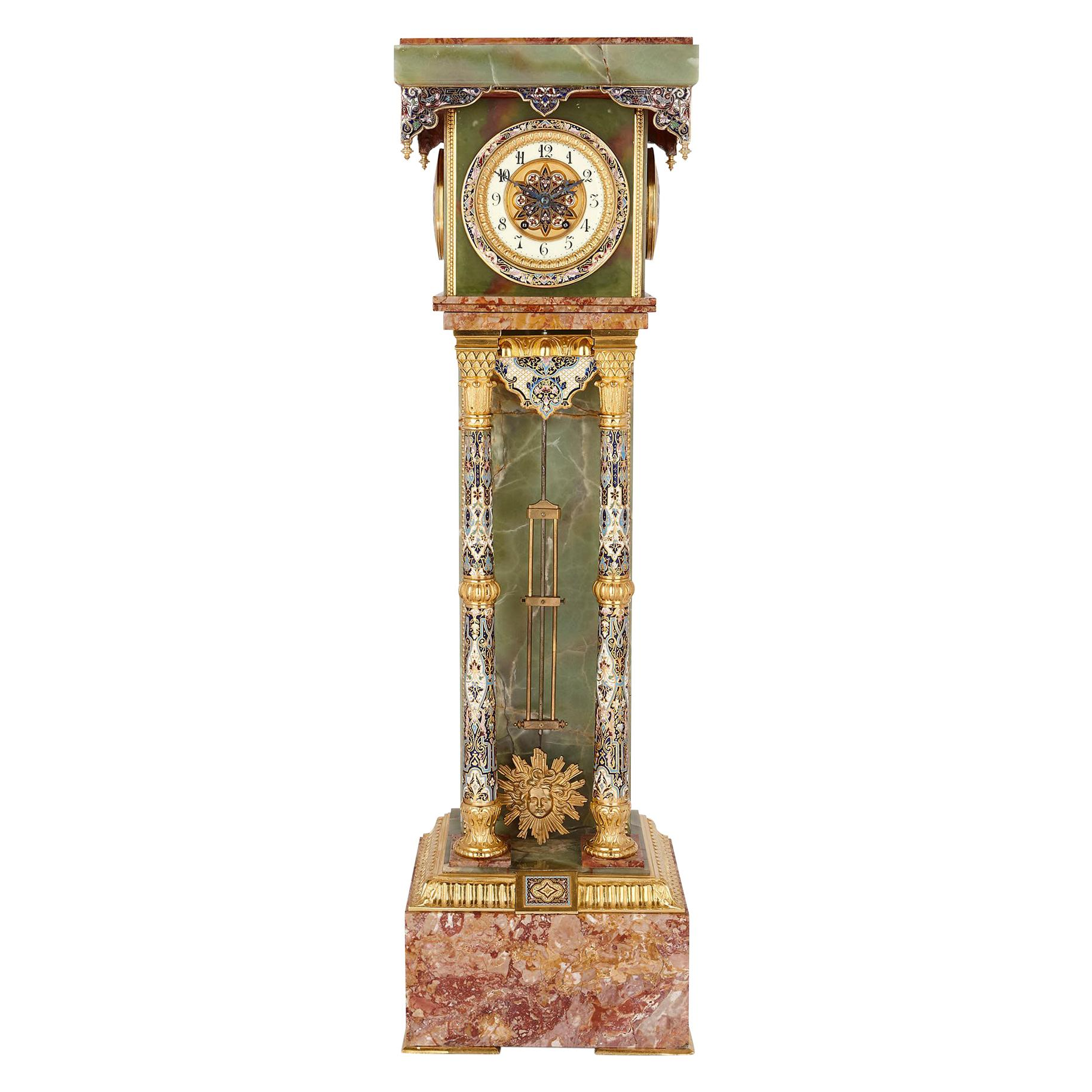Onyx and Marble Longcase Clock with Enamel and Gilt Bronze Mounts