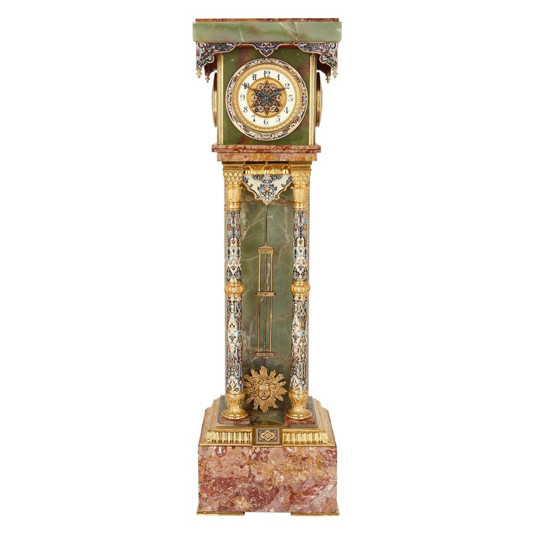 Onyx and Marble Longcase Clock with Enamel and Gilt Bronze Mounts For Sale