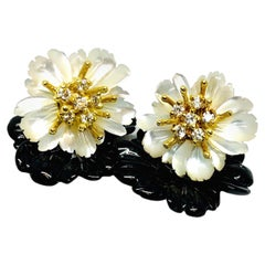 Onyx and Mother-of-Pearl Carved Flower Earring Jackets 18k Gold and Diamonds