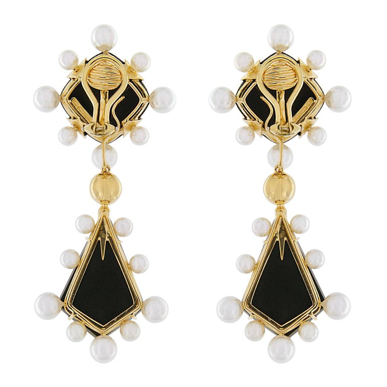 Modern Onyx and Pearl Drop Earrings For Sale