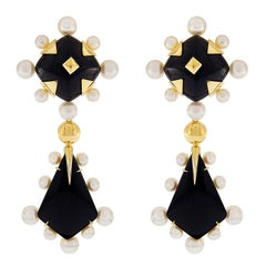 Onyx and Pearl Drop Earrings