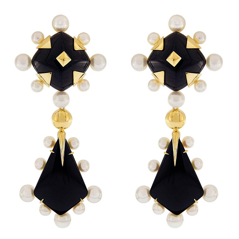 Onyx and Pearl Drop Earrings For Sale