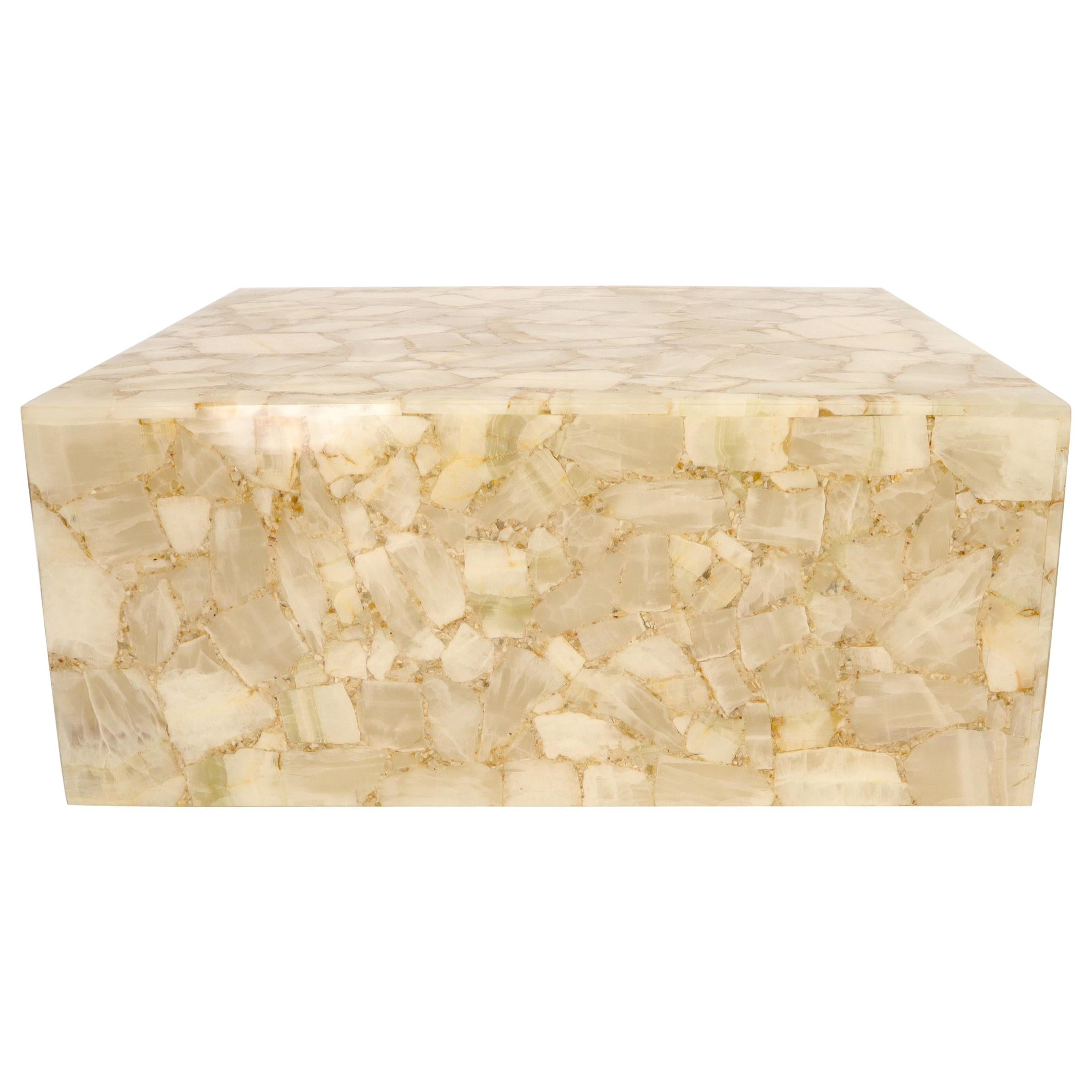 Onyx and Resin Square Cube Shape Mid-Century Modern Coffee Table
