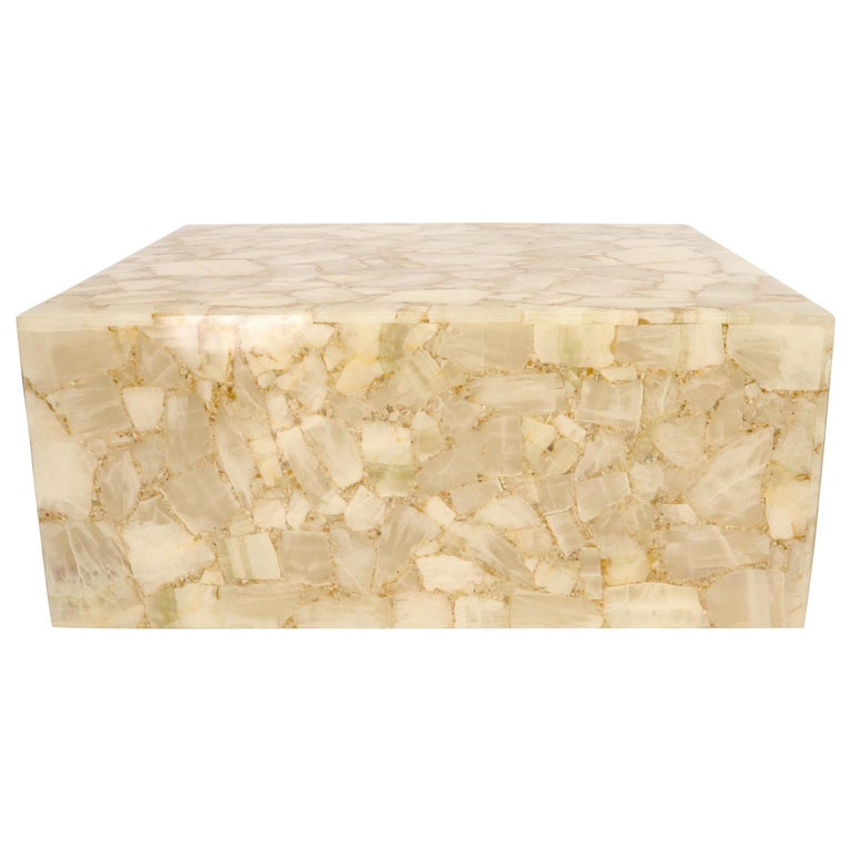 Onyx and Resin Square Cube Shape Mid-Century Modern Coffee Table For Sale
