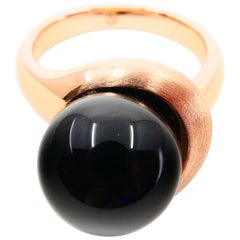 Onyx and Rose Gold Ring, Very Unique Design