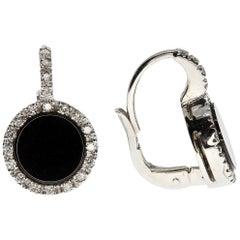 Onyx and White Diamond Earrings