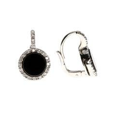 Onyx and White Diamond Earrings in 18 Karat White Gold