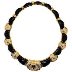 Onyx and White Diamond Choker Necklace in 18 Karat Yellow Gold