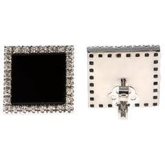 Onyx and White Diamond Square Post-Back Earrings in 18 Karat White Gold