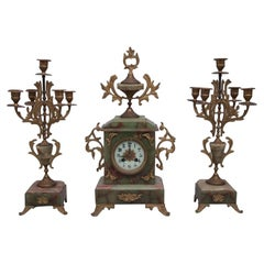 Onyx Antique Clock with Two Candelabras, France, circa 1900