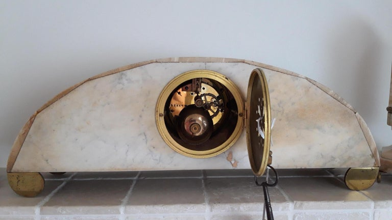 European Onyx Art Deco Clockset For Sale