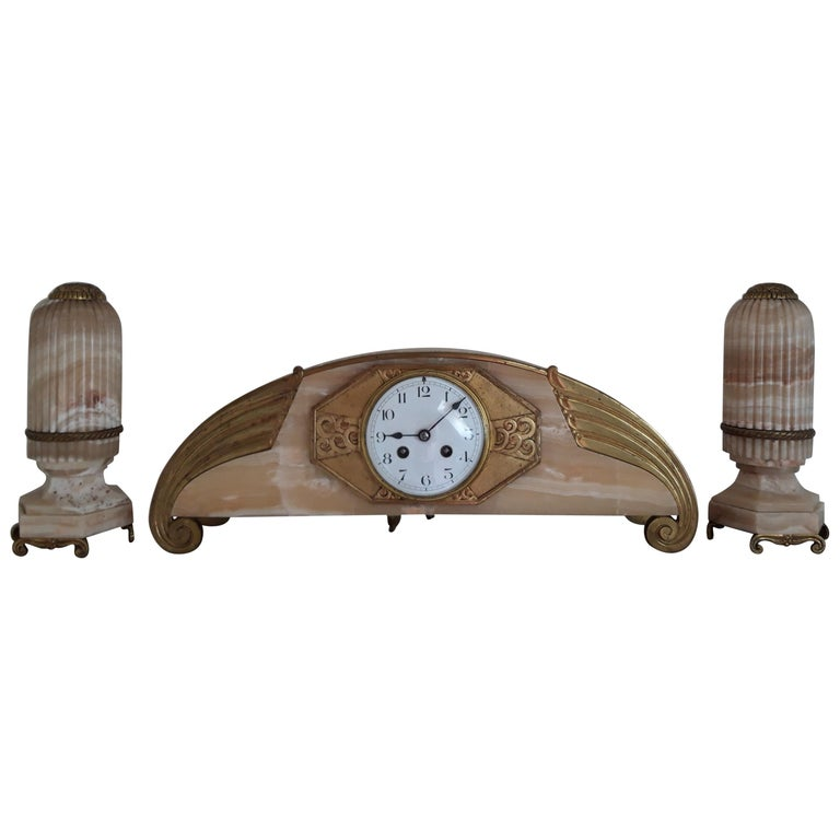 Onyx Art Deco Clockset For Sale