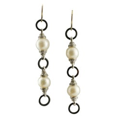 Onyx Australian Pearls Diamonds White Gold Earrings