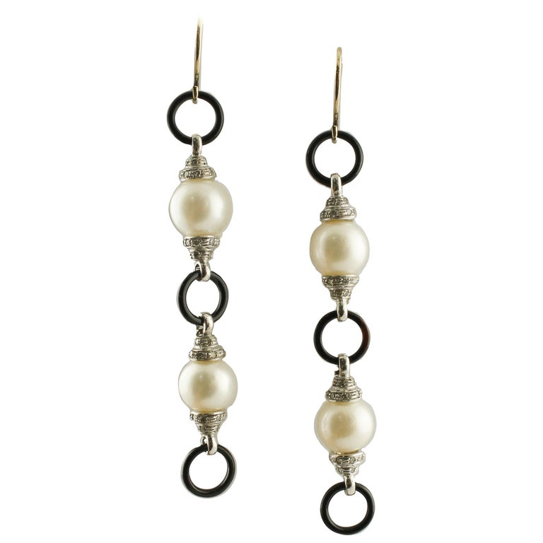 Onyx Australian Pearls Diamonds White Gold Earrings For