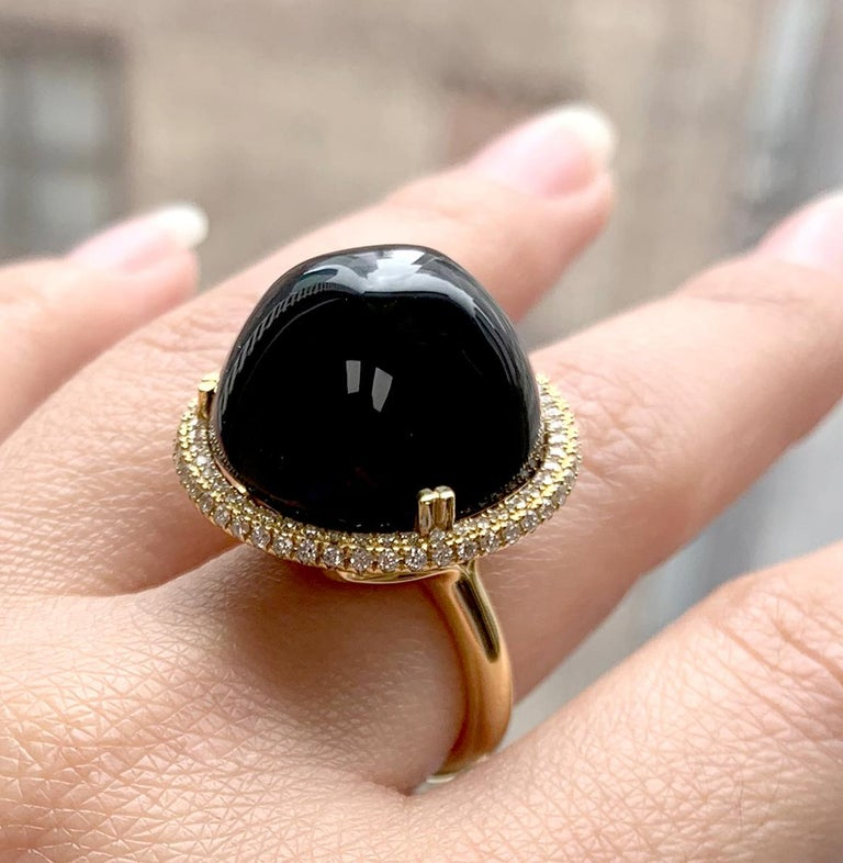 Onyx Bubble Gum Ring in 18K Yellow Gold with Diamonds, from 'Rock 'N Roll' Collection. Please allow 2-4 weeks for this item to be delivered.  Stone Size: 19 mm   Diamonds: G-H / VS, Approx Wt : 0.60 Cts