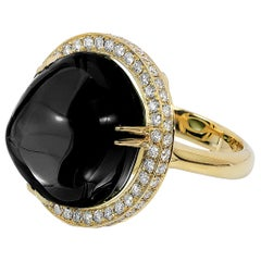 Goshwara Onyx Cabochon And Diamond Ring