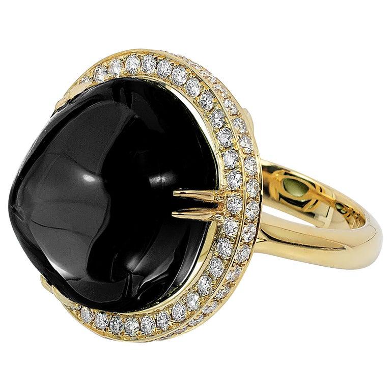 Goshwara Onyx Cabochon And Diamond Ring For Sale