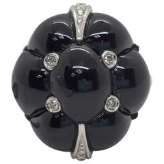 Onyx Cabochon and White Diamond Round Flower Ring in 18 Karat White Gold