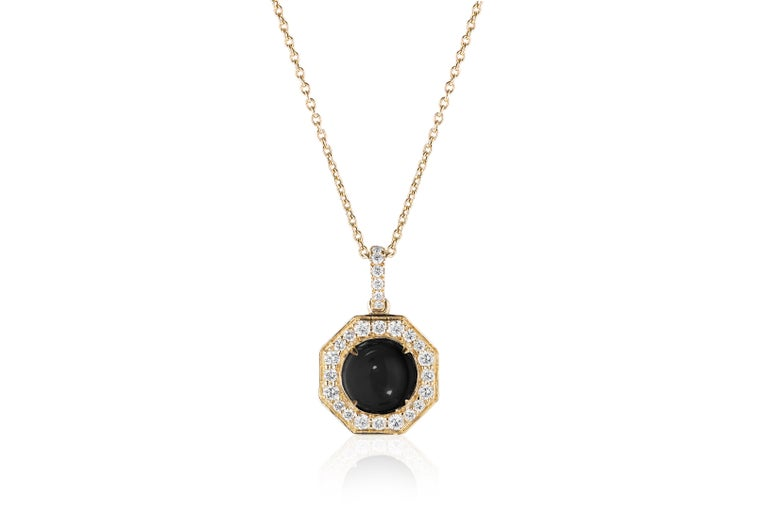 Onyx Cabochon Small Pendant with Diamonds in 18k Yellow Gold, from 'Rock N Roll' Collection  Stone Size: 8 mm  Gemstone Weight: 4.74 Carats  Diamond: G-H / VS, Approx Wt: 0.60 Carats