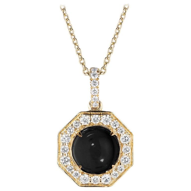 Goshwara Onyx Cabochon And Diamond Pendant For Sale