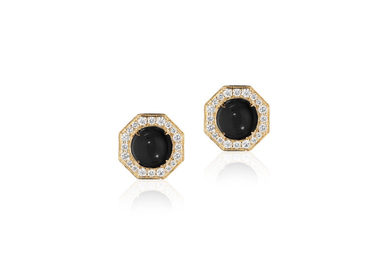 Onyx Cabochon Stud Earrings with Diamonds in 18k Yellow Gold, from 'Rock N Roll' Collection  Stone Size: 8 mm  Gemstone Weight: 4.74 Carats  Diamond: G-H / VS, Approx Wt: 0.60 Carats